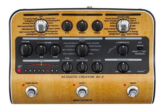 Zoom Ac-3 Pedaleira P/ Violão Acoustic Creator Chorus Delay