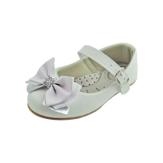Sapato Boneca Baby Com Laço E Strass - Branco