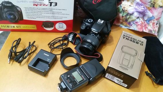Câmera Profissional Canon T3-eos Com Nota Fiscal+flash Yongnuo 468 Ii