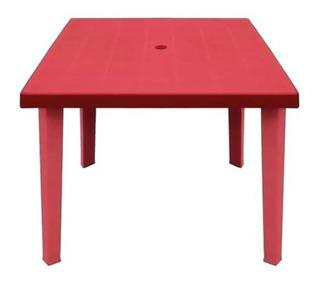 Mesa Cuadrada Plastico 80x80 Patas Desmontables Rojo Roja