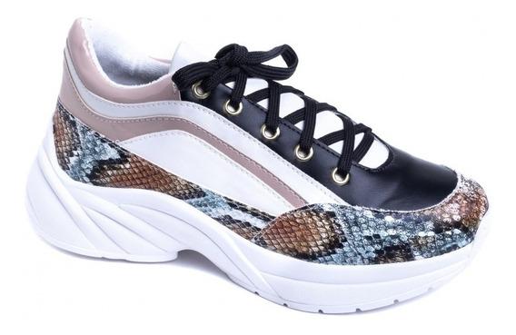 Tênis Chunky Sneaker Em Napa Branco, Preto, Rosê E Cobra
