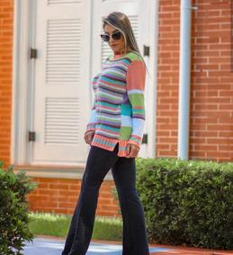 Blusa De Frio Feminina Tricot Tricô Colorida Listrada