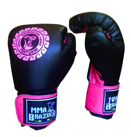Luva De Boxe E Muaythai Mmabrazuca 12oz Cor Preta Com Pink.