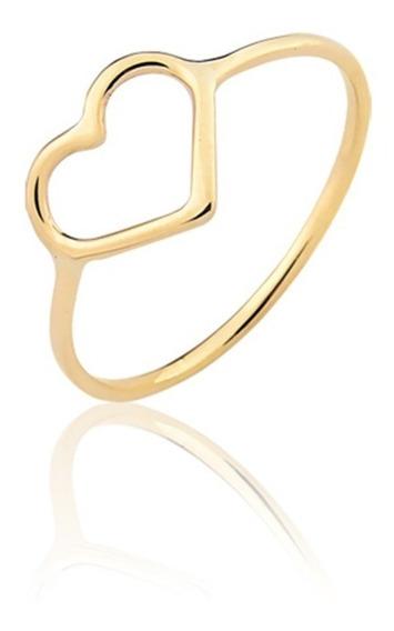 Anel Ouro Puro 10k Coração Vazado A329