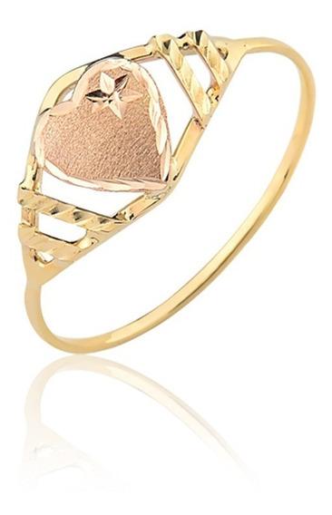 Anel Ouro Puro 10k Coração Rosé A345