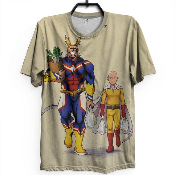 Camiseta Unissex Anime One Punch Man Saitama All Might Herói