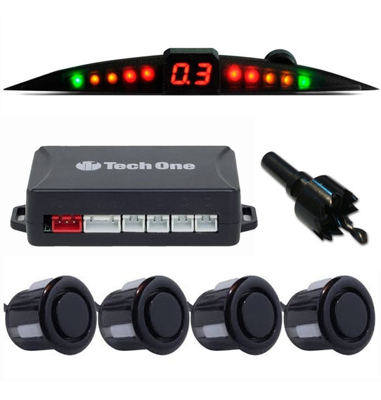 Sensor Estacionamento Re Preto Brilhante Com Display Slim
