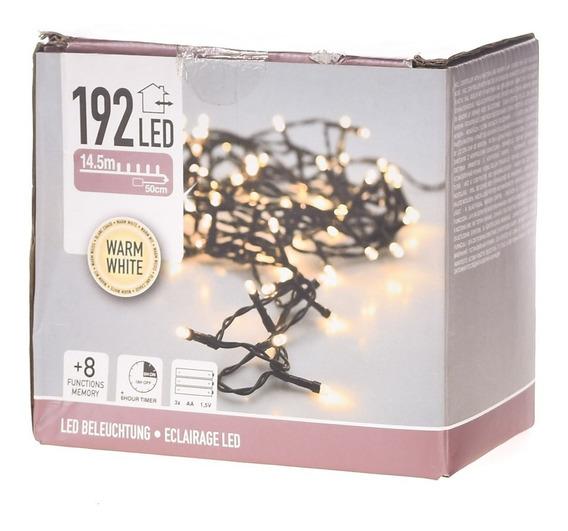 192 Luces Led Cálidas A Pila - Cable Negro