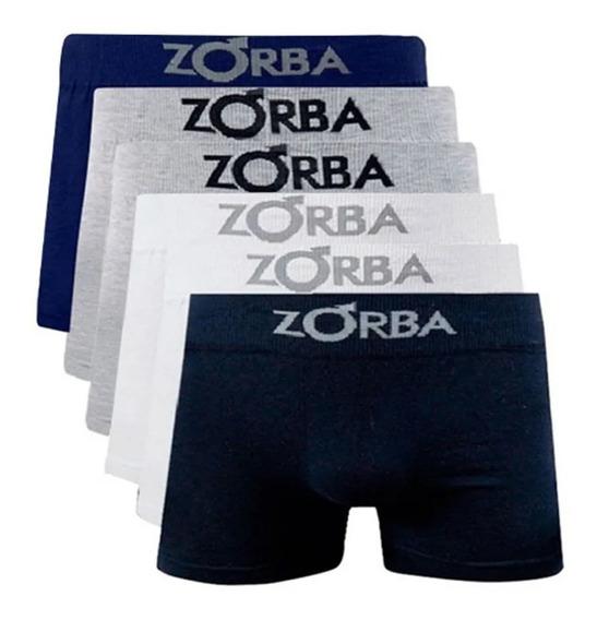 Kit Com 06 Cuecas Boxer Algodão Sem Costura Zorba