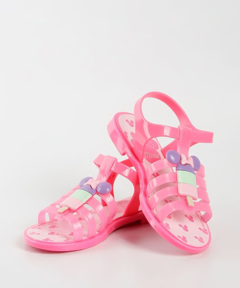 Sandália Feminina Infantil Minnie Ice Pop Grendene Kids-rosa