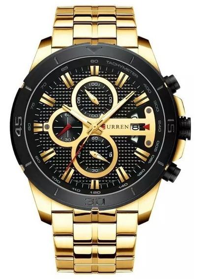 Relógio Curren 8337 Original Cronógrafo Funcional Aço Inox