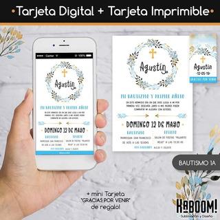Invitaciones Para Bautizo De Niño Para Editar En Mercado