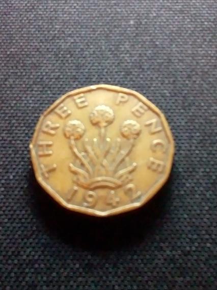 Moneda De Three Pence (3 Peñiques) Gran Bretaña 1942