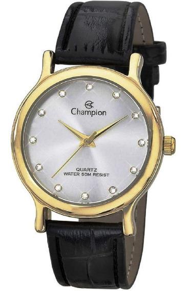 Relógio Champion Feminino Pulseira Couro Strass Ch22733b Nfe