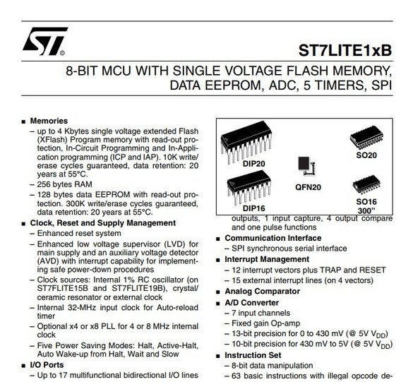 Microcontrolador St7flit15bf1b6 Stmicroelectronics