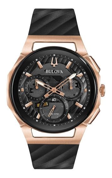 Reloj Bulova Curv Chrono Para Hombre 98a185 Negro Oro Rosa