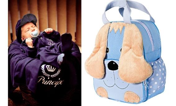 Mochila Cachorro Azul G + Saída De Maternidade Principe