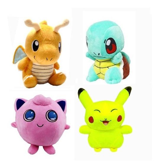 Kit 4 Pelucia Pokemon Pikachu Jigglypuf Squirtle Bubassauro