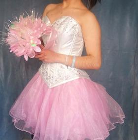 Vestido De Xv Años Rosa Con Corset Plata Detalles Pedreria