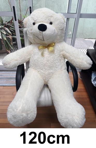 Urso Branco Creme Grande Gigante 1,20 Metros 120cm + Recheio
