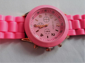 Relógio Feminino Silicone Rosa Geneva Impotado