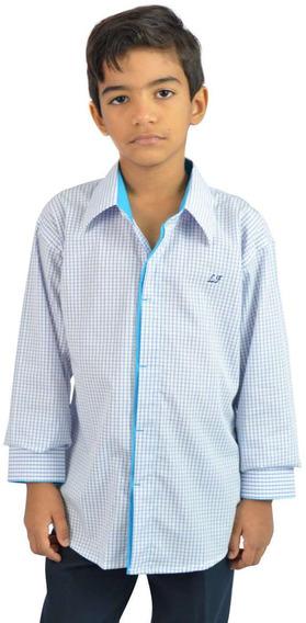 Camisa Social Infantil Quadriculada Branco - Oferta