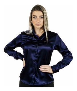Camisa Feminina Anabela - Cetim C/ Elastano - Pimenta Rosada