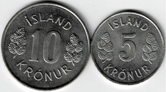 Lote Monedas De Islandia 5 - 10 Coronas 1980 Muy Buenas