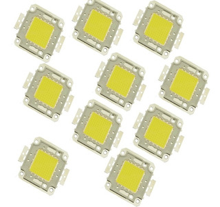 Kit 10 Chips Super Led 100w Branco Frio Refletores Projeto