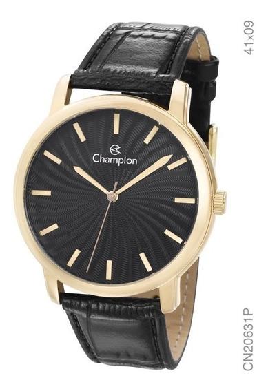 Relógio Social Unissex Champion Dourado Cn20631p Em Couro