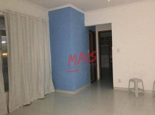 Apartamento Frente Ao Mar Com Vista, Com 2 Dormitórios + Dependência, Para Alugar, 120 M² - Ponta Da Praia - Santos/sp - Ap5879