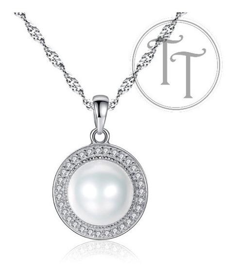 Collar Perla Natural 9 Mm Bisel Zirconias 1.3 Ct Plata 925