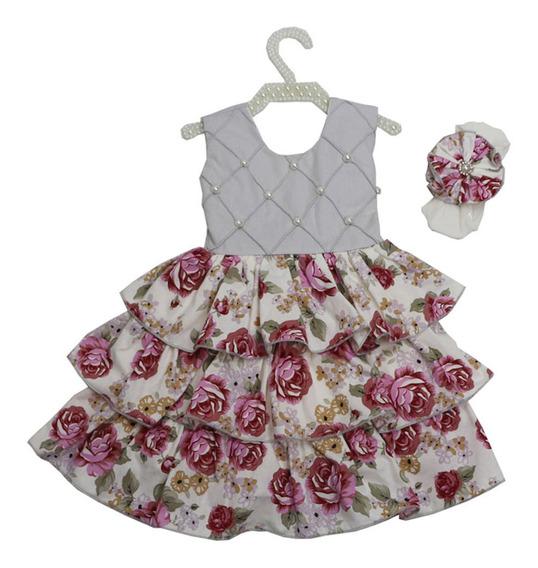 Vestido Infantil + Faixa Cabelo Pérola Cinza Pronta Entrega