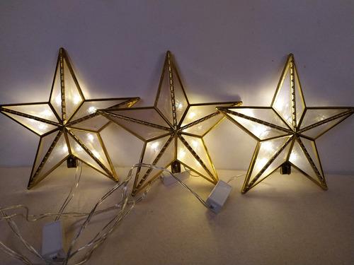 Imagen 1 de 6 de Estrella Dorada Punta De Árbol Luces Con Defecto Navidad 3