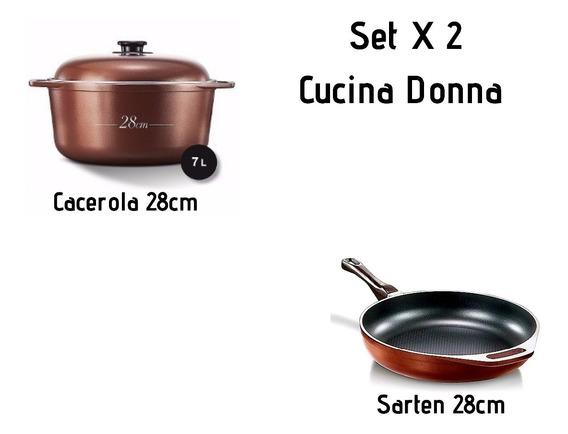 Cucina Donna Set X2- Cacerola 28cm + Sarten 28cm - Mendoza
