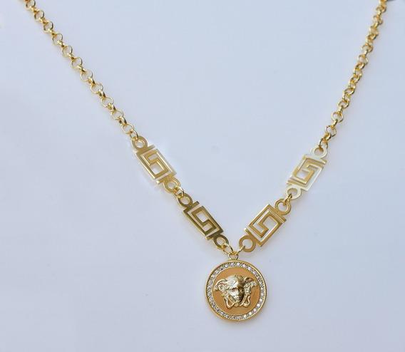 Choker Medusa Zirconias Semi Joia Banhado Ouro Luxo