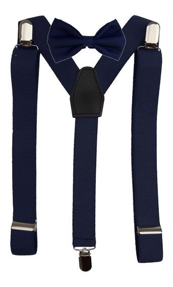 Combo Moño Y Tiradores Para Pantalón Nena Nene Regulable