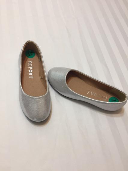 Zapatos Chatitas Plateados Nena Talle 12 U.s.a 29 Arg.