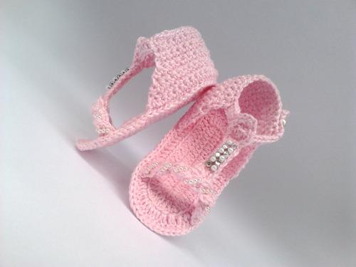 A116 Sapatinho De Croche Feminino De Bebe Sandalia Menina