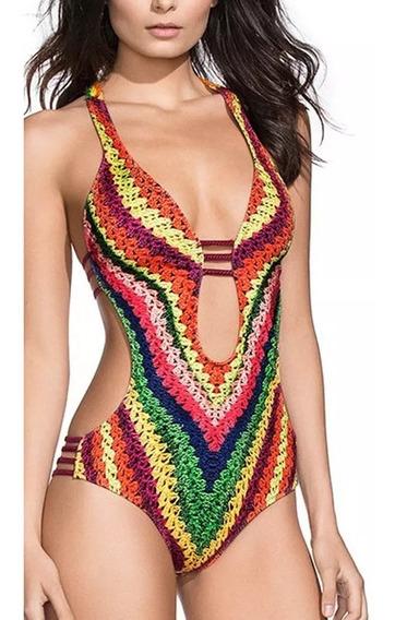 Trikini Monokini Traje De Baño Sexy Bikini Arcoiris Estampad