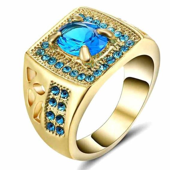Anel Masculino Imperador Cristal Água Marinha Azul P