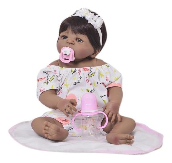 Bebê Reborne Corpo De Vinil Siliconado Morena Negra Lol