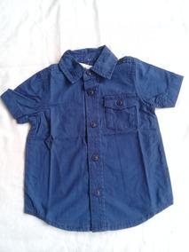 Camisa Social Azul Marinho Infantil Oshkosh Original Nova