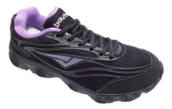 Tênis Feminino Caminhada Bouts Preto/violeta 004403