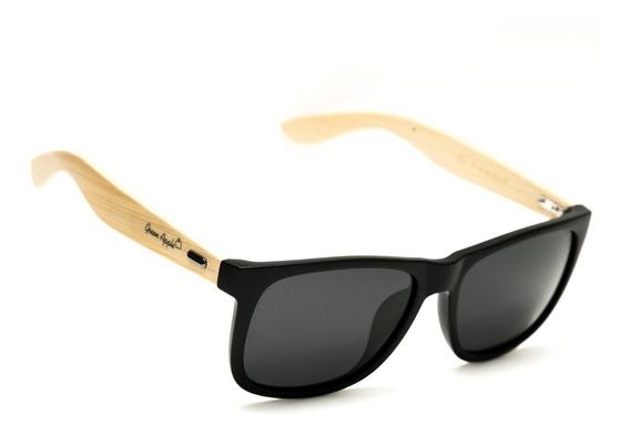 Óculos De Sol Quadrado Masculino Bambú Preto Natural 21bp