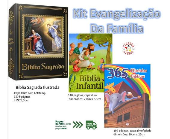 Evangelização Bíblia Sagrada+ Bíblia Infantil+ 365 Histórias