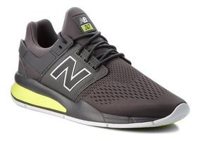 new balance gris y verde hombres zapatillas