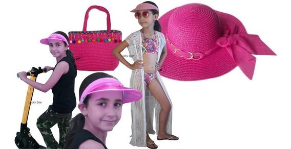 Bolsa Infantil + Chapéu Praia+ Viseira Anita + Saída Kit