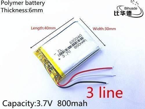 Bateria 3,7v 800mah 3 Fios Gps Mp3 Mp4 Caneta Gravador Som
