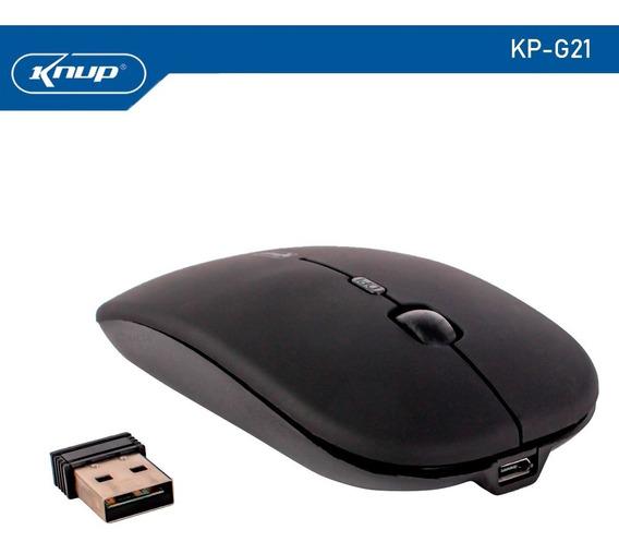 Mouse Sem Fio Recarregável 2,4ghz 1600 Dpi G21 Preto Knup